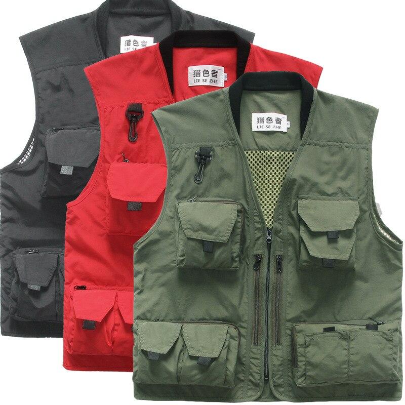 Summer Autumn Men Multifunctional Quick Drying Mesh Fishing Vest Jacket Loose Multi Pocket Outdoor Photography Angler