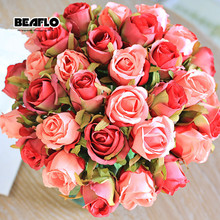 1 Bouquet Artificial Flower Rose 12 Heads DIY Fake Silk Flowers Floral for Home Christmas Wedding Garden Party Decoration 2 heads rose artificial flower fake leaf velvet silk flowers artificial for home party wedding decoration