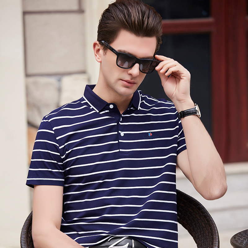 Polo   Shirt Fashion New 2018 Summer Top High Quality Men   Polo   Shirt Short Sleeve Leisure Classic Striped   Polo   Men Plus Size