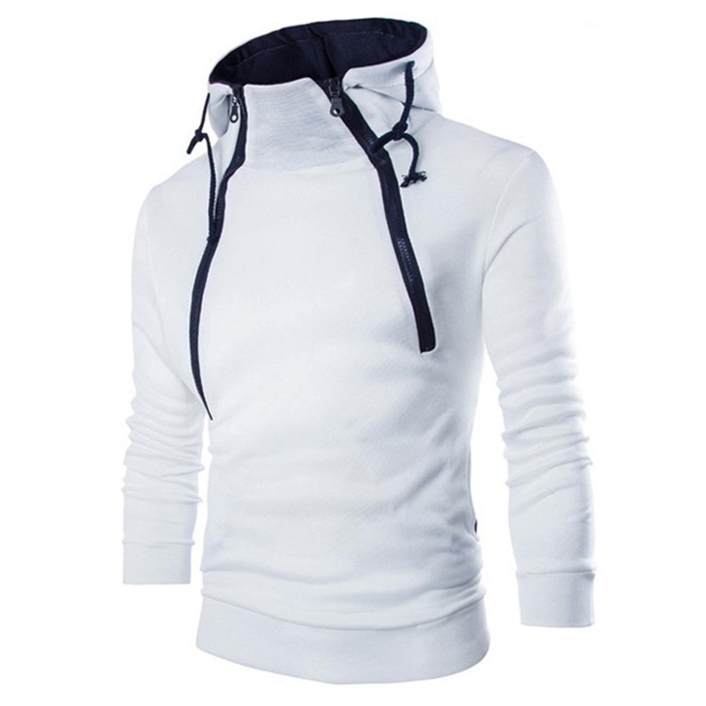 MISSKY Men Casual Sports Long Sleeve Double Zipper Hoodie Simple Solid Color Hooded Sweatshirt