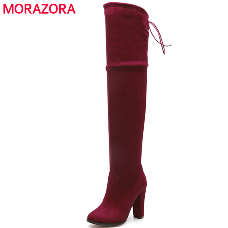 MORAZORA Spring autumn over the knee boots spuer heels shoes elegant contracted women bo ...