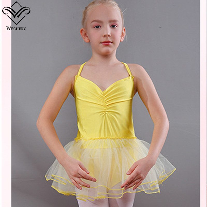 Wechery Smooth Ballet Dress Silky Dance Wear Girls Solid Mesh Tutu Dresses High Quality V Neck Sleeveless Cotton Dancing Costume