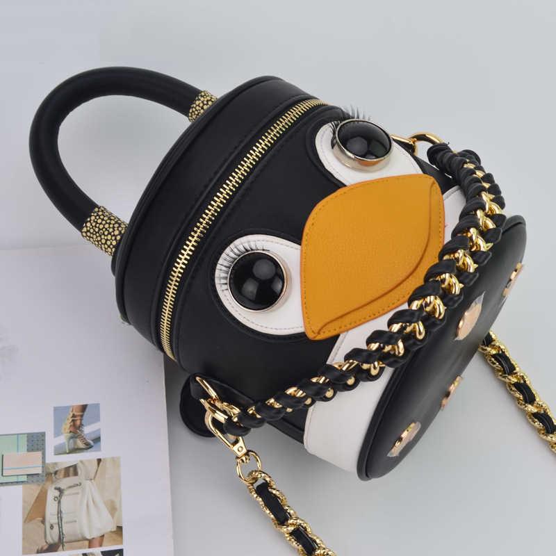 女性バッグデザイナーショルダーバッグポータブルペンギンメッセンジャーバッグチェーン構成正方形小型女性のための高級ハンドバッグ