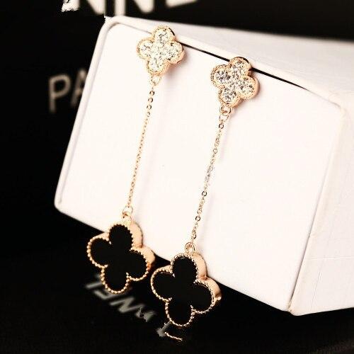 New women boutique rhinestone crystal clover long tassel drop earring real rose gold for women female