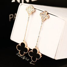 De las nuevas mujeres boutique del trébol del rhinestone del pendiente de gota largo borla real de oro rosa para mujeres regalos femeninos
