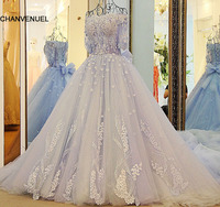 Xj33210 Latest Evening Gown Designs Light Blue Half Sleeves Formal Dresses Court Train Off The Shoulder
