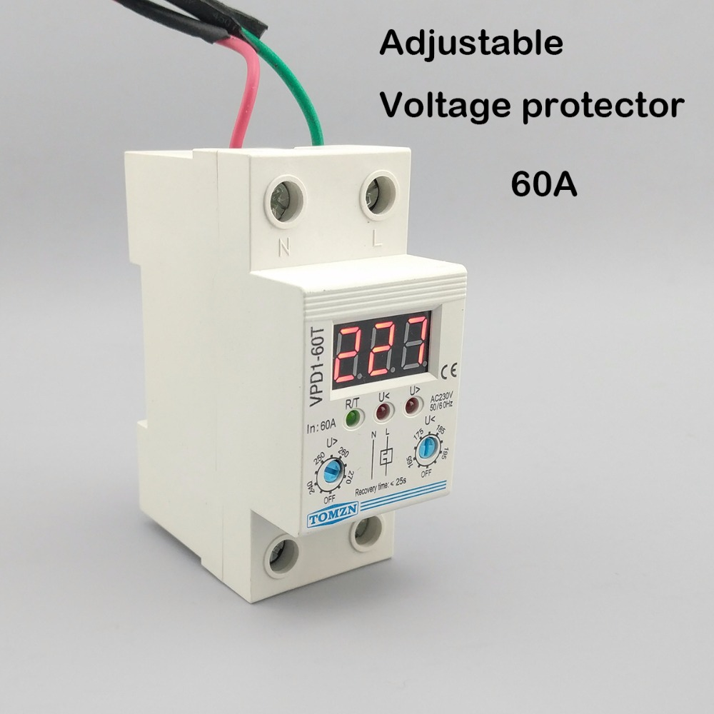 60A 220V adjustable automatic reconnect over voltage and under voltage protection device relay with Voltmeter voltage monitor