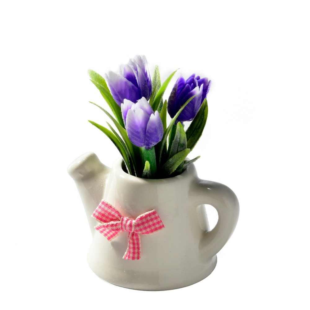 Buatan Bunga Tulip + Keramik Pot Kecil Bonsai Bunga Palsu Perlengkapan Pesta untuk Ruang Tamu Dekorasi Taman Rumah Dekorasi