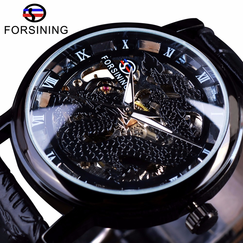 Forsining Chinese Simple Design Transparent Case Mens Watches Top Brand Luxury Skeleton Watch Sport Mechanical Watch Male Clock new arrival silver transparent skeleton open face design pocket watch women mens gift clock with 30cm chain p1038c