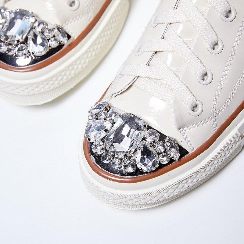 À 2019 Tendance gold Knsvvli Appartements Chaussures Décontractées Véritable Rond White Nouveau Femme Bout Lacets Cuir Cristal Dames Bling En silver Argent 54RLqc3jAS