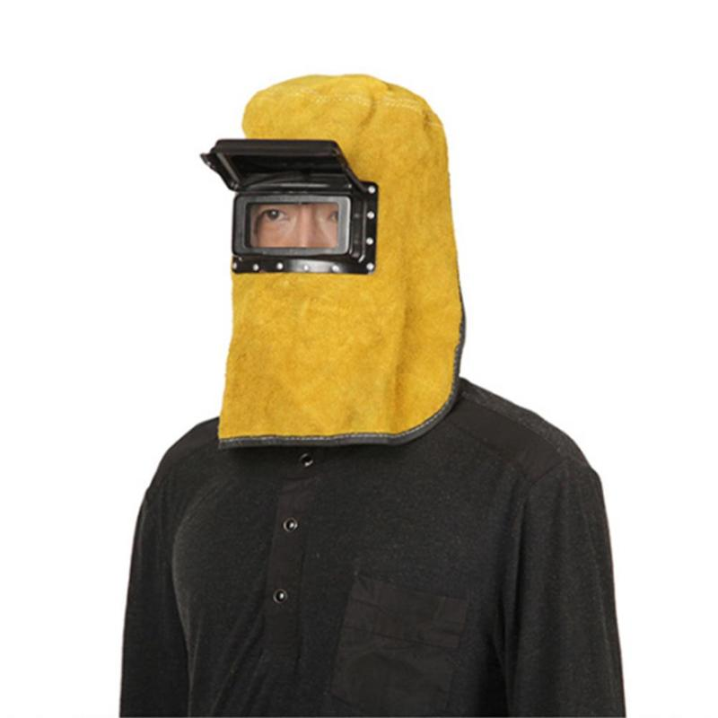 Welding Mask Cow Leather Head Eye Protector Lens Glasses Fireproof Safe Hood Helmets Solder Welding Tool