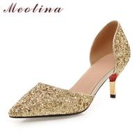 Meotina Bridal Weeding Shoes Women High Silver Heels Two Piece Party Pumps Stilettos Autumn Big Size 43 chaussures femme talon