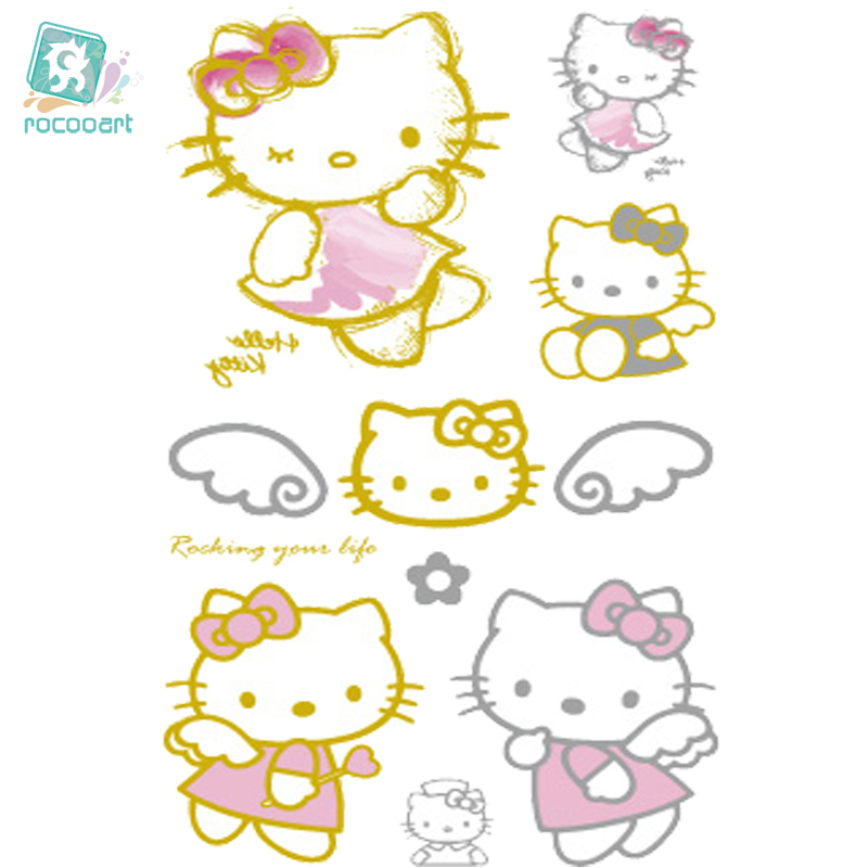 Rocooart VHC49 Waterproof Tattoo Golden Gold Design Cute Pink Hello Kitty Fake Glitter Metallic Temporary Tattoo Stickers Body