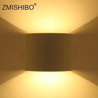 ZMISHIBO Modern LED Waterproof Wall Lamp 110V 240V 6W/12W IP44 White/ Black Balcony Lights Light Outdoor Sconce Angle Adjustable