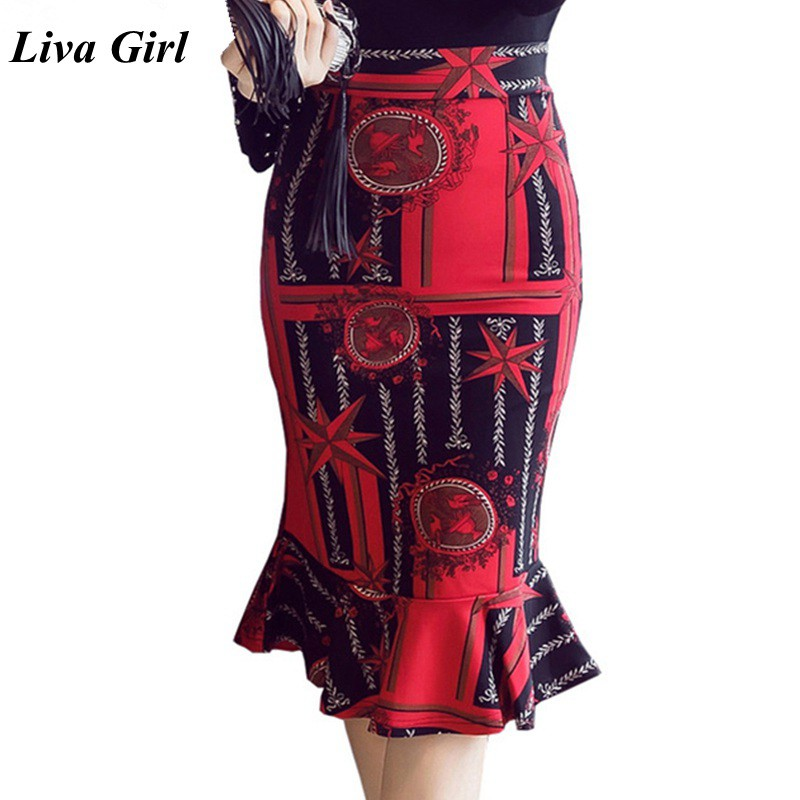 S-5XL Women Skirts 2018 Winter Elegant Sexy High Waist Skirt Vintage Office Ladies Formal Print Long Pencil Skirts Red Plus Size