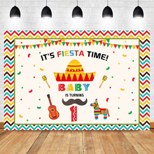 NeoBack Mexican Fiesta 1th Birthday Theme Photo Background Cactus Color Flag Guitar Baby Boy Photophone