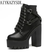 AIYKAZYSDL Gothic Cross Strap Ankle Boots Women Faux Leather Platform Block Chunky
