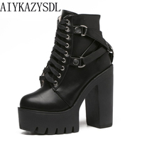 Hongyi Fall Gothic Cross Strap Ankle Boots Women Faux Leather Platform Block Chunky Thick Ultra High