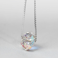 Funmor Exquisite Crystal Pendant Chain Necklace 925 Sterling Silver Women Girls Routine Anniversary Accessories Fine Jewelry