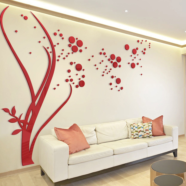 Attractive 3D Large Size Round Dots Tree Wall Stickers Home Decor Living Room Art  Background Acrylic Mirror