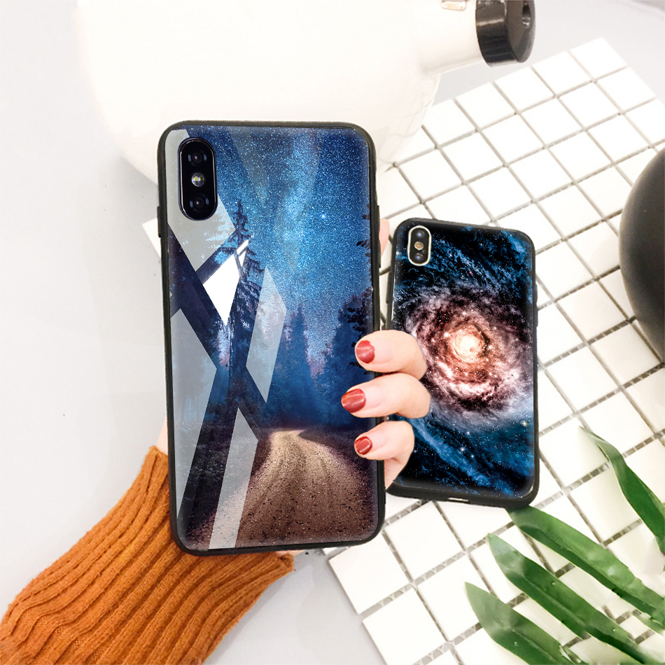 TOMKAS Tempered Glass Case For iPhone XS Max XR XS Silicone Stars Space Cover Phone Case For iPhone X 10 XS XR Luxury Cases TPU  (23)