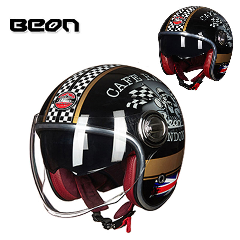 scooter Motorbike Chopper Helmet Motorcycle Accessories & Parts Apprehensive 2018 Vintage Beon B108a Black Gold Jet Motorcycle 3/4 Open Face Helmet