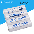 4 pcs AA 3000mAh 1.2 V Quanlity NI-MH Rechargeable Battery AA 3000mAh PALO Recarregavel 2A Battery Baterias Bateria Batteries