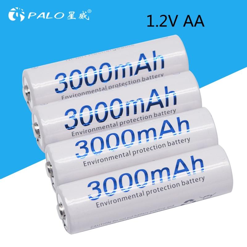 4 stücke AA 3000 mah 1,2 v Quanlity NI-MH Akku AA 3000 mah PALO Recarregavel 2A Batterie Baterias Bateria batterien