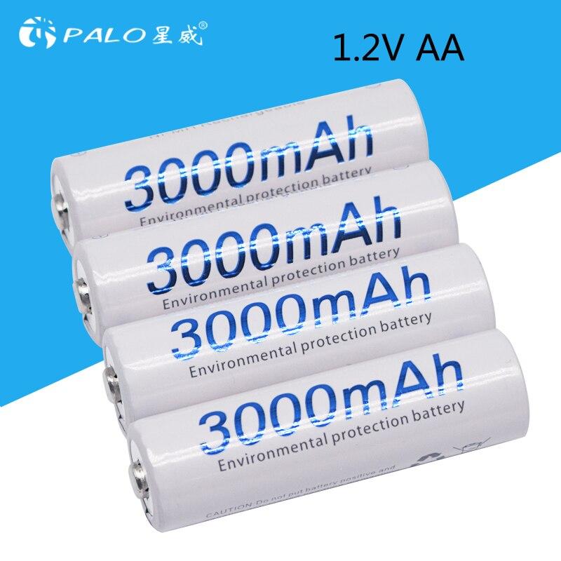 Quanlity 4 pcs AA 3000 mAh 1.2 V AA NI-MH Bateria Recarregável 3000 mAh PALO 2A Baterias Bateria Recarregável Bateria baterias