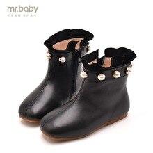Mr. baby оригинальная детская обувь новые зимние элегантные квадратный жемчугом для девочек сапоги модные ботинки