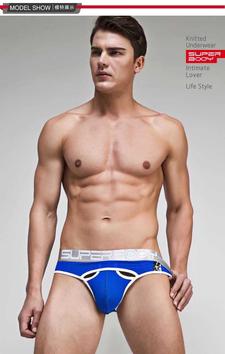 Topdudes.com - New Style Sexy Solid Mesh Breathable U Convex Briefs Cotton Underwear