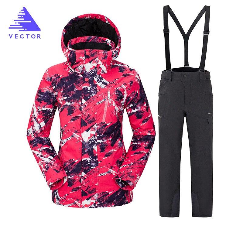 VECTEUR Marque Ski Costume Femmes Ski Imperméable À L'eau Chaude Costumes Ensemble Dames Sport En Plein Air D'hiver Manteaux Snowboard Neige Vestes et Pantalons