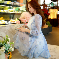 Spring Dress Pink Doll 2016 New Spring Seven Quarter Wave Print Dress