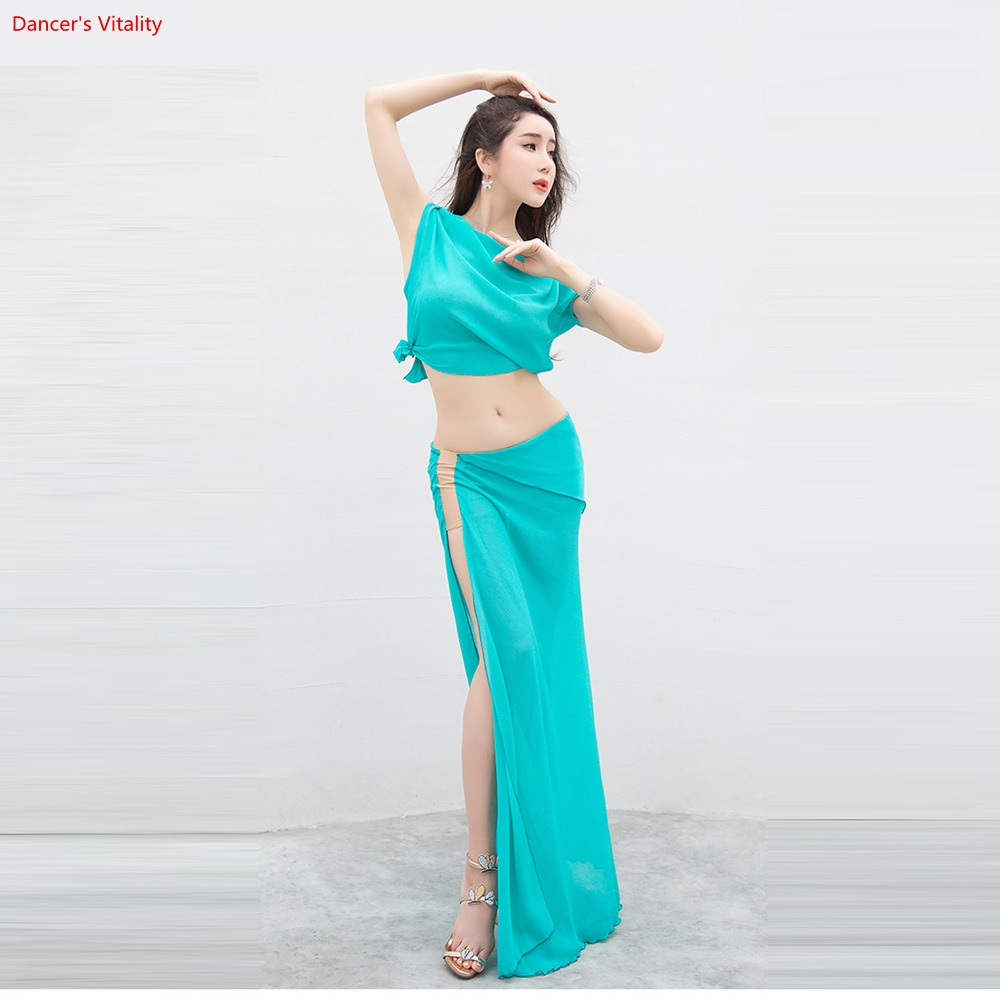 New Summer Women Belly Dance Set Top+Skirt 2pcs Set/Suit Oriental Dance Competition Sexy Chiffon Dance Set free delivery