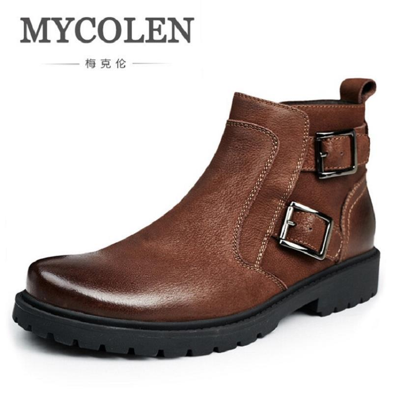 MYCOLEN New Button Zip Plush Warm Ankle Boots Men Round Toe Winter Chelsea Boots Motorcycle Boots High-Top Men Shoes Erkek BotMYCOLEN New Button Zip Plush Warm Ankle Boots Men Round Toe Winter Chelsea Boots Motorcycle Boots High-Top Men Shoes Erkek Bot