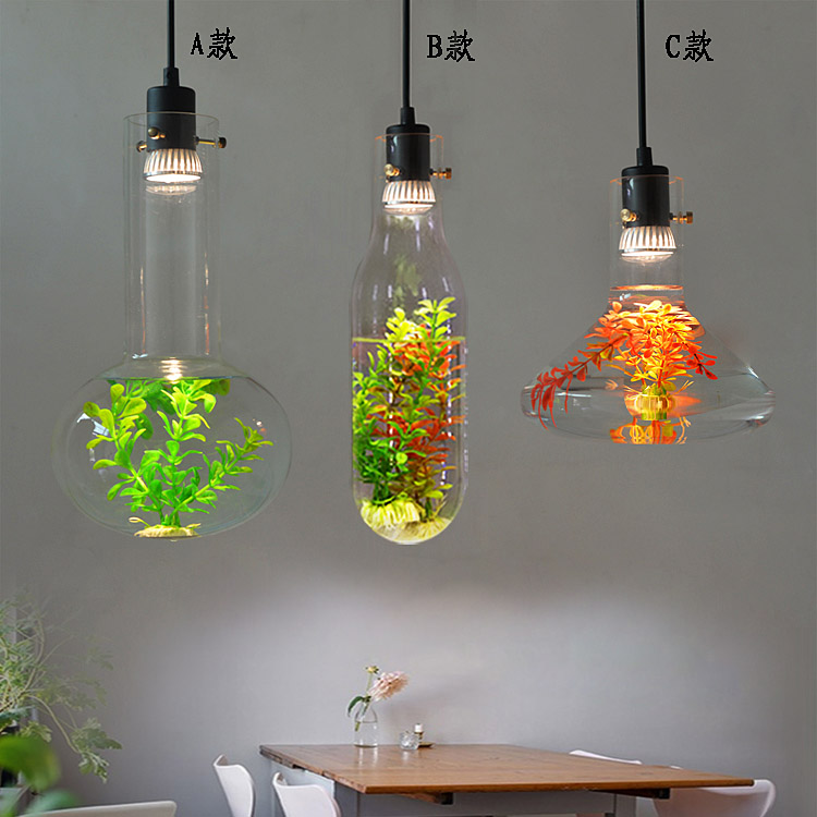 Creative Nordic pendant lights plant with led bulb glass bottle for kitchen balcony bedroom living room hanging lighting lamp fumat stained glass pendant lights small hanging glass lamp for bedroom living room kitchen creative art led pendant lights