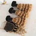 1B/27 цвет Блондинка Ломбер Бразильские Волосы С Закрытием Бразильские Вьющиеся Волосы Девственницы С Закрытием Ломбер глубоко Вьющиеся Волосы