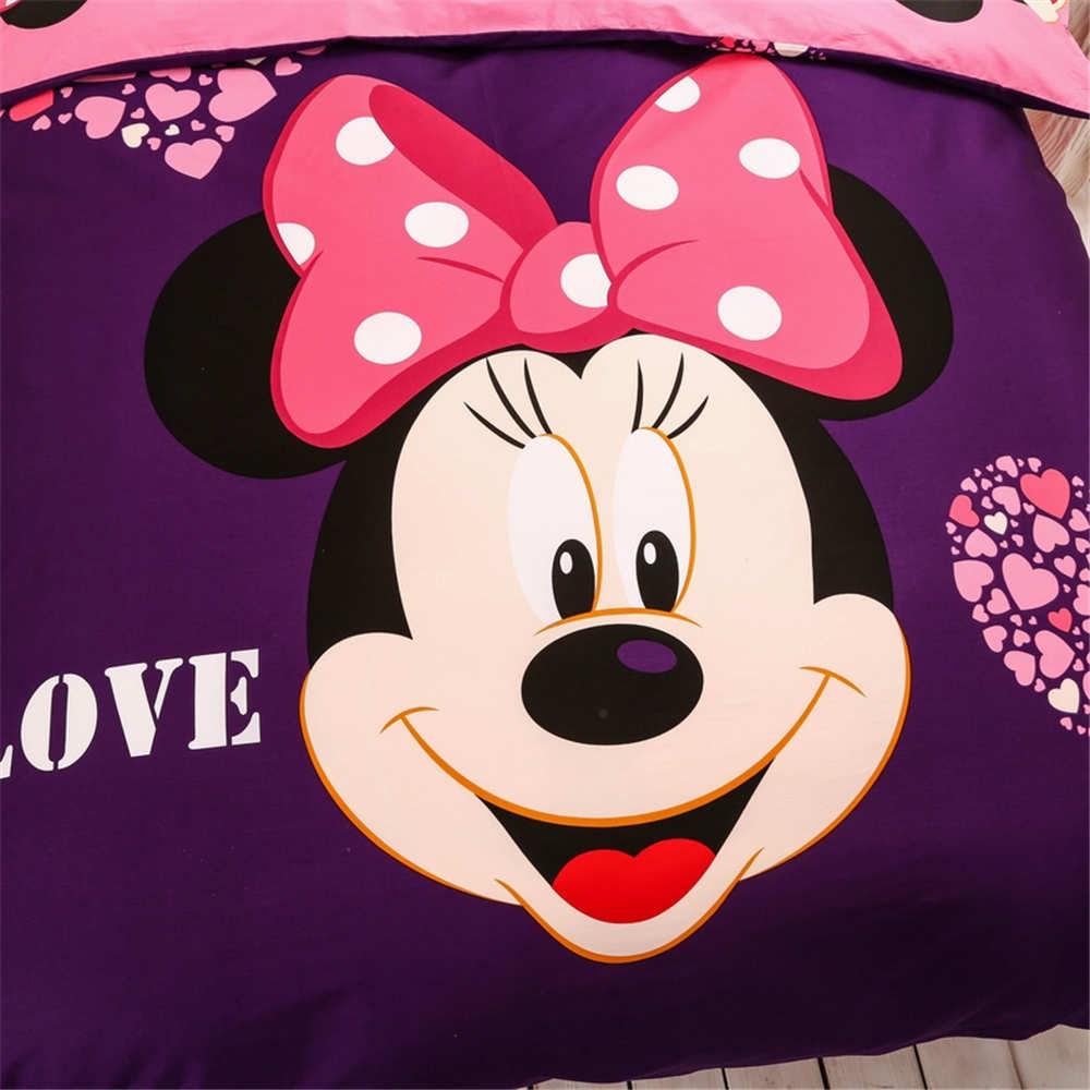 Minnie mouse sanding comforter bedding set queen size 4/5pcs purple duvet cover kids girls bedroom decor adult winter gift