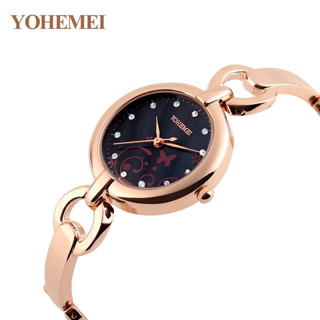 YOHEMEI Marca de Moda de luxo Relógio de Quartzo ocasional Pulseira de Relógio Para As Mulheres Strass Liga Das Senhoras do Relógio de Pulso Relogio feminino