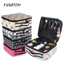 цена на New Professional Makeup Bag Women Cosmetic Case High Quality Female Korean Pu Leather Makeup Box Large Capacity Travel Wash Bags