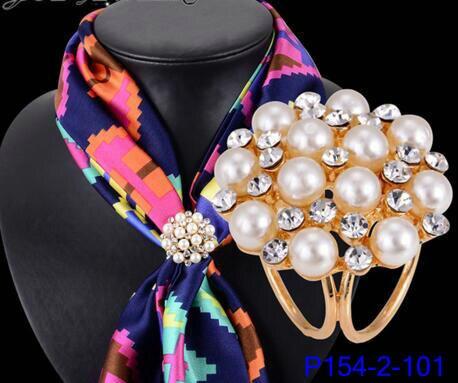 IYOE Пряжка для шарфа с имитацией жемчуга для женщин золотого цвета модные шелковые украшения Кристальные броши для шарфа булавки оптовая пр...