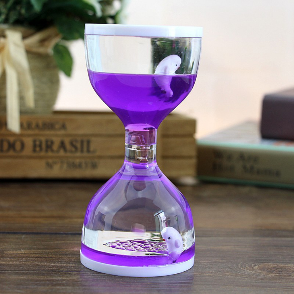 Dolphin Liquid Motion Bubbler Timers, Oil Hourglass Sensory Relaxation Toy Visual Bubble for Office & Desk Decor Gifts Purple(China)