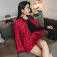 2018 autumn and winter new elegant quality red burr set tweed jacket + high waist pack hip skirt ladies fashion two piece suit