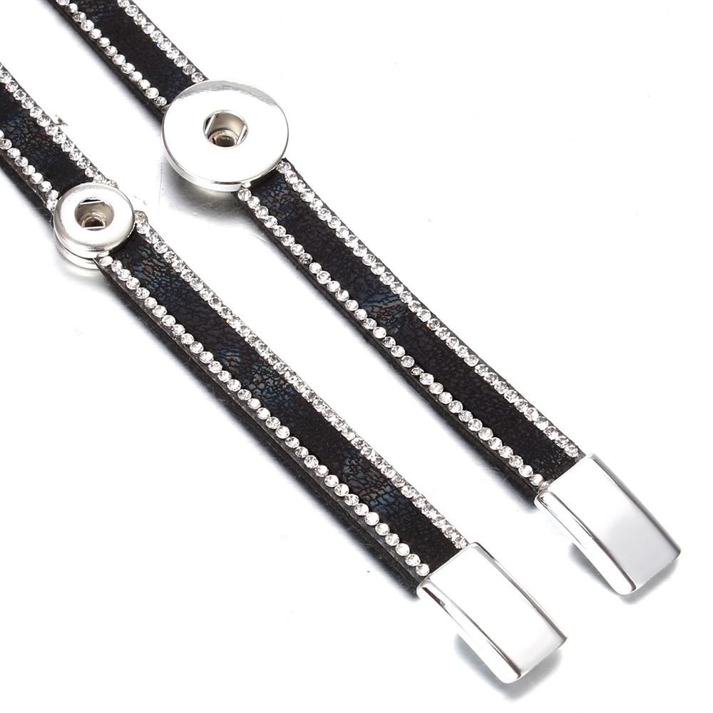 Image 5 - 10pcs/lot Snap Button Jewelry DIY 18mm Snap Buttons Bracelet Crystal Leather Magnet Bracelet Length 40CM Buttons JewelryCharm Bracelets   -