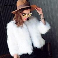 Aikooki Women Luxury Faux Fur Europe Winter Fox Fur Furry Shaggy Clothes Imitation Soft Mink Fur Lady Warm Beautiful Clothes