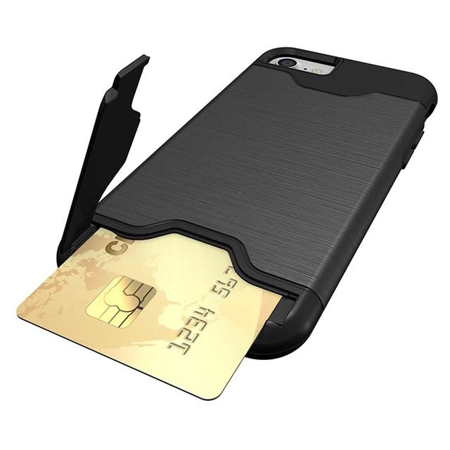 Para o caso do iphone 7 slot para cartão 2 em 1 híbrido pc + tpu magro caso armadura iphone 7 plus 7 mais casos de telefone kickstand capa para iphone7 6 s