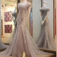 Dream Angel Elegant Boat Neck Long Mermaid Evening Dresses 2017 Lace Pearls Sweep Train Formal Dress