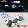 Medidor de Tensão do carro + Medidor de Temperatura Da Água + Oil Press Calibre Cromo Titular Carro 3 Em 1 Kit Painel Triplo