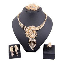 Fashion African Beads Gold/Silver Plated Crystal Rhinestone Flower Tassel Wedding Party Jewelry Costume Choker Statement Sets