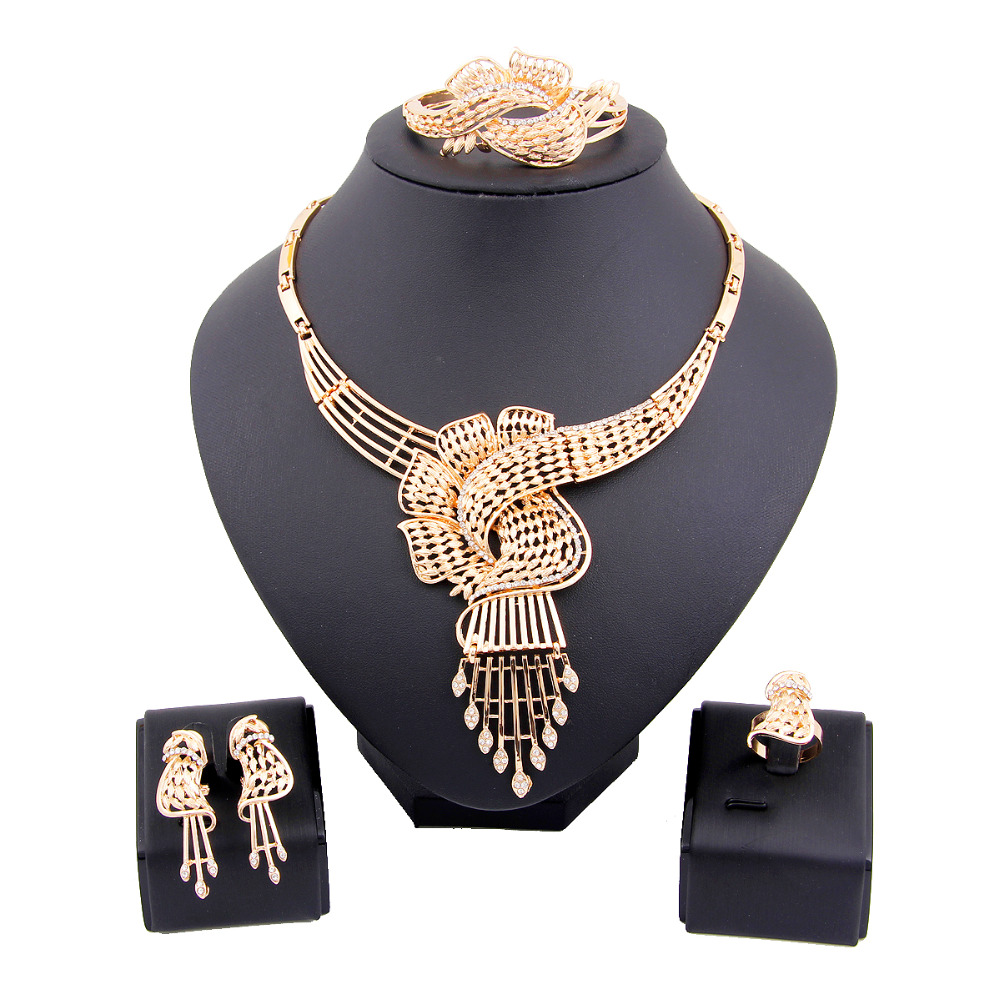 Fashion African Beads Gold Silver Plated Crystal Rhinestone Flower Tassel Wedding Party Jewelry Costume Choker Statement